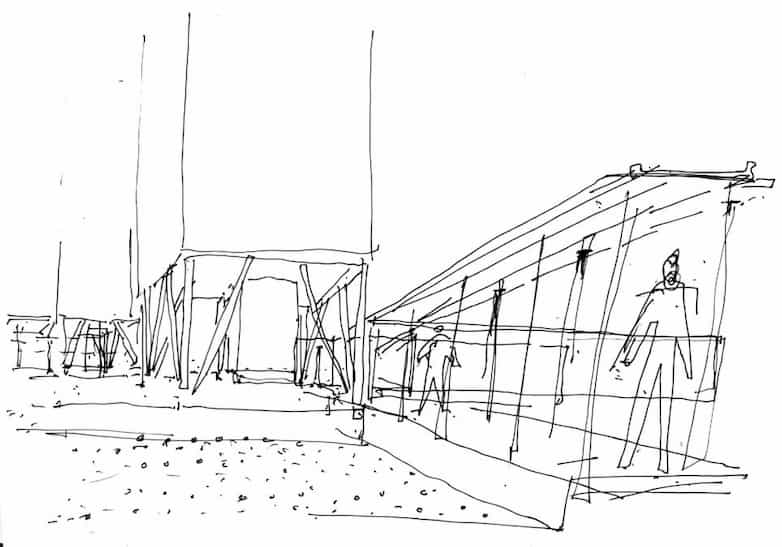 sketch drawing covered walkways a ground level and base of tower