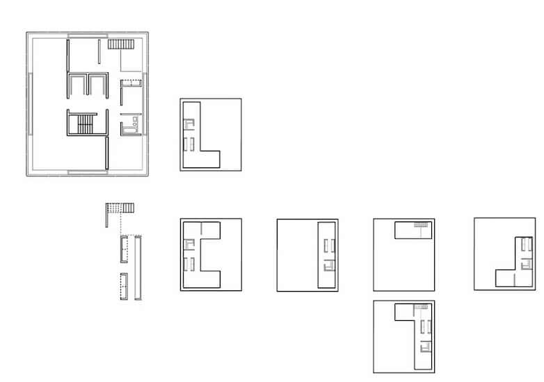 architectural plans flats and tower core layouts