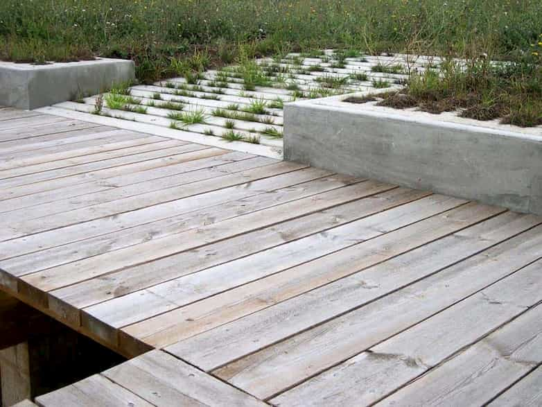 Detail of one of the new teaching decks, used by visiting school groups for 'pond-dipping'.