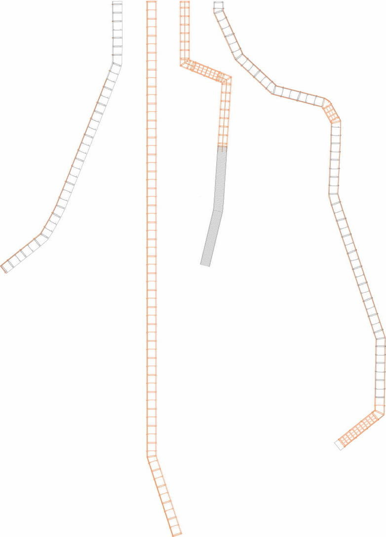 Plan of four individual boardwalks set out as a catalogue, comparing scale and plan-forms.