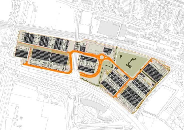 Indicative masterplan with new industrial development, access roads and landscaping.