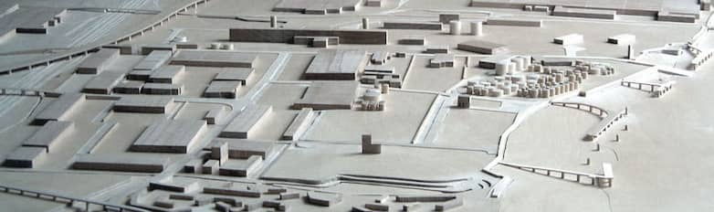 Model of proposed developments, A13 trunk road, Dagenham Dock station, and Thames wharves.