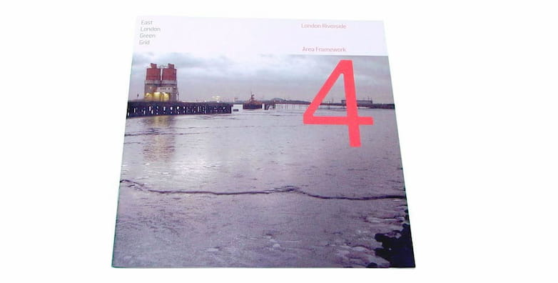 London Riverside published framework, cover image showing the Thames foreshore at Dagenham Dock.