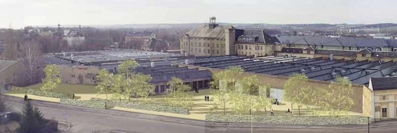 Visualisation of proposed gardens to rear of former textile factory.