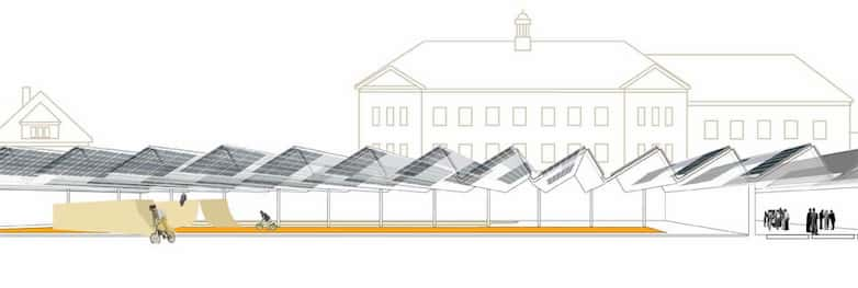 Architectural drawing sectional perspective of proposal.