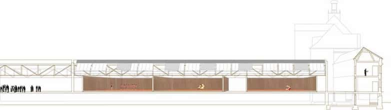 Perspective section showing new studio volumes within main weaving shed.