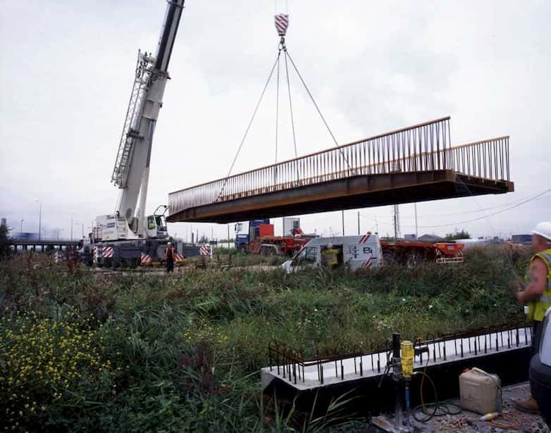 Piled bridge supports set back from the water's edge to minimise impact on wildlife.