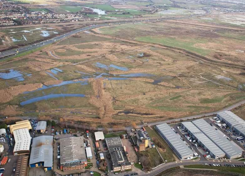 Aerial view of southern section of marsh, public paths integrated with extensive wet grassland.
