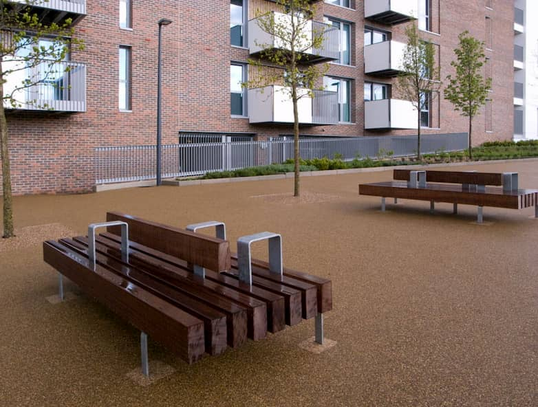 Timber seating installed at Barrier Park.