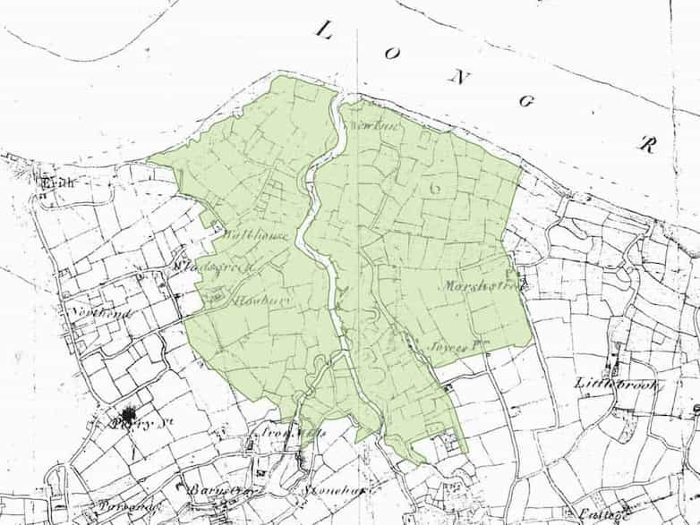 Modern extent of Crayford and Dartford marshes overlayed on historic map 1801.