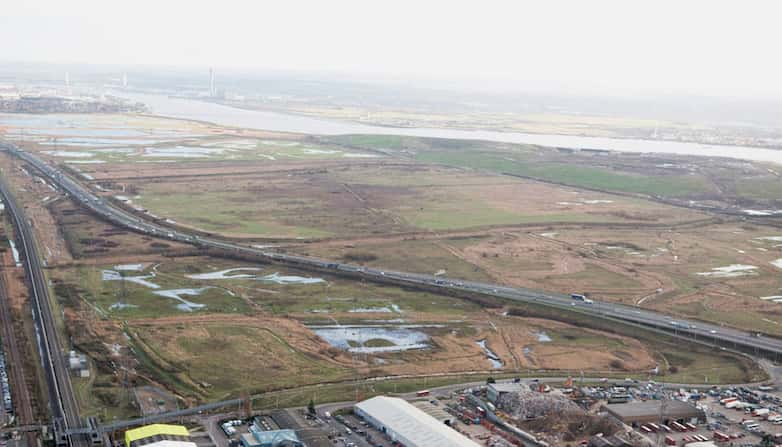 Aerial view of the trackway with Rainham marshes, and the river Thames